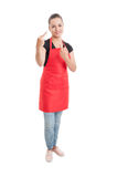 Rude supermarket woman seller showing middle fingers Stock Photos
