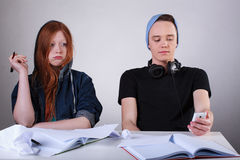 Rude teenagers at school Royalty Free Stock Image