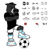 Rude Wild boar soccer cartoon expressions set Stock Photos