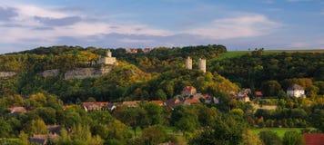 Rudelsburg en Saaleck-kasteel Stock Afbeelding