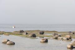 Ruderboot im nebelhaften Meer nahe Küste Stockfoto