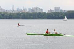 Ruderer in den Booten am Festival Ekofest 2012 Lizenzfreie Stockbilder