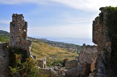 Ruderi Cirella Vecchia, Cosenza,Calabria. Old Cirella, Calabria- the ancient Hamlet overlooking the Tyrrhenian Sea that was destroyed three times: by Hannibal stock photography