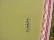 Rudernde Bootsvogelperspektive des Teams acht Lizenzfreies Stockbild