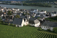 Rudesheim. Vineyards and town center of Rudesheim, Germany stock photography
