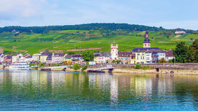 Rudesheim am Rhein, town in the Rhine Gorge, Germany. Rudesheim am Rhein, famous town for wine making in the Rhine Gorge, Germany Stock Photo