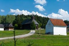 从Rudno的教会-斯洛伐克村庄的博物馆, JahodnÃcke hà ¡ je,马丁,斯洛伐克 图库摄影