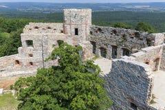 Ruins of 15th century medieval castle, Tenczyn Castle, Polish Jura, Poland. RUDNO, POLAND - JULY 21, 2018: Ruins of 15th century medieval castle, Tenczyn Castle stock photos