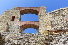 Ruins of 15th century medieval castle, Tenczyn Castle, Polish Jura, Rudno. RUDNO, POLAND - JULY 21, 2018: Ruins of 15th century medieval castle, Tenczyn Castle stock images