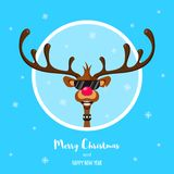 Rudolf med den röda näsan stock illustrationer