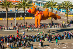 Rudolf The Red Nosed Reindeer. Balloon Of Rudolf The Red Nosed Reindeer At The 2016 Holiday Bowl Parade In San Diego, California Stock Photos