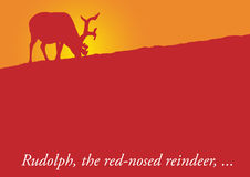 Rudolf reindeer. Christmas card with a reindeer in front of a sunset Stock Photo