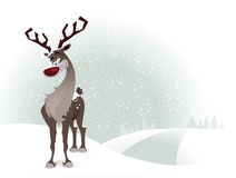 Rudolf the reindeer. On a snowy background Stock Photo