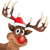 Rudolf the reindeer with red nose and hat Royalty Free Stock Photo