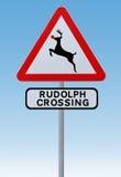 Rudolph-Überfahrt-Weihnachtsverkehrsschild lizenzfreie abbildung
