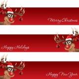 Rudolph τα Χριστούγεννα ταράνδων και το νέο έμβλημα έτους Στοκ Εικόνες