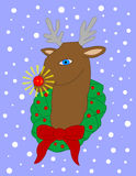 Rudolph. Rudulph the red-nosed reindeer with glowing nose and snow in the background Stock Photo