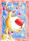 Rudolph. Hand painter christmas reindeer with christmas baubles.Picture I have created with colored pencils Royalty Free Stock Photography