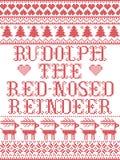 Rudolph che il modello senza cuciture scandinavo della renna col naso rosso ha ispirato entro l'inverno festivo della cultura nor illustrazione di stock