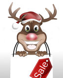 Rudolph with Christmas Hat. And Happy Smile Stock Photo