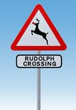 Rudolph Crossing Christmas Road Sign Royalty Free Stock Images