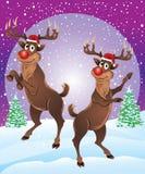 Rudolph das Ren, das Schneefälle genießt Lizenzfreie Stockfotos