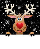 Rudolph deer holding blank paper for your text royalty free illustration