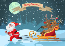 Rudolph deer riding with a girlfriend with Santa Claus. For design Stock Photos