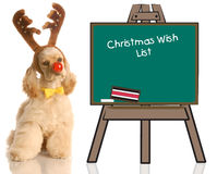 Rudolph dog with wish list royalty free stock images