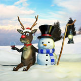 Rudolph and Frosty Royalty Free Stock Image