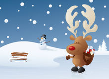 Rudolph on Ice Stock Photo