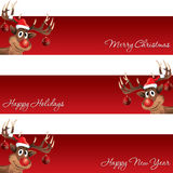 Rudolph la bandera de la Navidad del reno y del Año Nuevo Foto de archivo