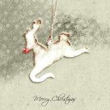 Rudolph la tarjeta de Navidad roja del reno de la nariz foto de archivo libre de regalías