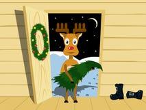 Rudolph med julgranen Arkivfoto