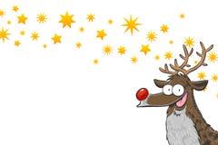 Rudolph med stjärnor royaltyfri illustrationer