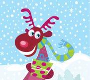 Rudolph met een rode neus op sneeuw royalty-vrije illustratie