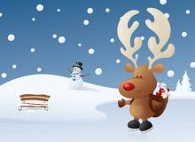Rudolph op Ijs Stock Foto