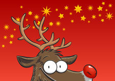 Rudolph peeking Royalty Free Stock Image