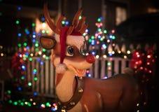 Rudolph the raindeer with bokeh of Christmas lights. Rudolph the raindeer as Chirstmas decoration with bokeh of Christmas lights stock images