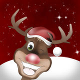 Rudolph Red Nose Happy Christmas Stock Image