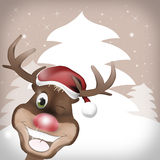 Rudolph Red Nose Happy Christmas. Creative Winter Design Graphic Stock Image