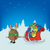 Rudolph the red nosed hedgehog Christmas card illustration Stock Photo