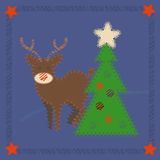 Rudolph The Red-nosed Reindeer. Christmas greeting card with deer Rudolph and Christmas tree royalty free illustration
