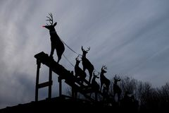 Rudolph Red Nosed Reindeer Ready To Launch Royalty Free Stock Photo