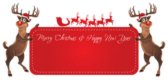 Rudolph Reindeer Christmas Banner. Rudolph Reindeer holding Christmas and New Year banner Stock Photos