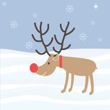 Rudolph Reindeer Christmas Holiday Vector-Beeldverhaal Royalty-vrije Stock Foto