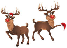 Rudolph The Reindeer Dancing with Hat. Rudolph The Reindeer Dancing, parting & enjoying on Christmas, wearing a Santa hat and also waving it, he is looking very Royalty Free Stock Photography