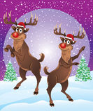 Rudolph The Reindeer Enjoying Snowfall. Rudolph The Reindeer Dancing, parting & enjoying in snowfall.  He is wearing a Santa hat and looking very as Christmas is Royalty Free Stock Photos