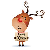Rudolph Reindeer hold banner with Christmas greetings Royalty Free Stock Images