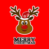 Rudolph reindeer. Merry Christmas. Royalty Free Stock Image